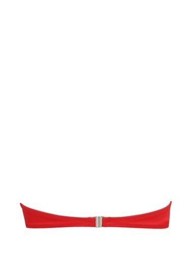 Solid & Stripe Bikini Üst Kırmızı